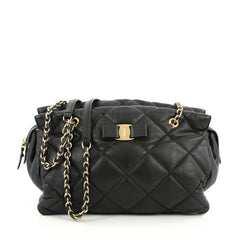 Salvatore Ferragamo Ginette Chain Shoulder Bag Quilted Leather Medium Black