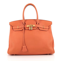 Hermes Birkin Handbag Orange Togo with Gold Hardware 35 Orange