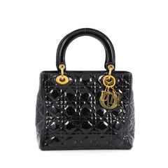 Christian Dior Lady Dior Handbag Cannage Quilt Patent Medium black
