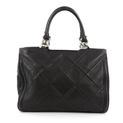 Salvatore Ferragamo Chain Tote Embossed Quilted Leather Medium black
