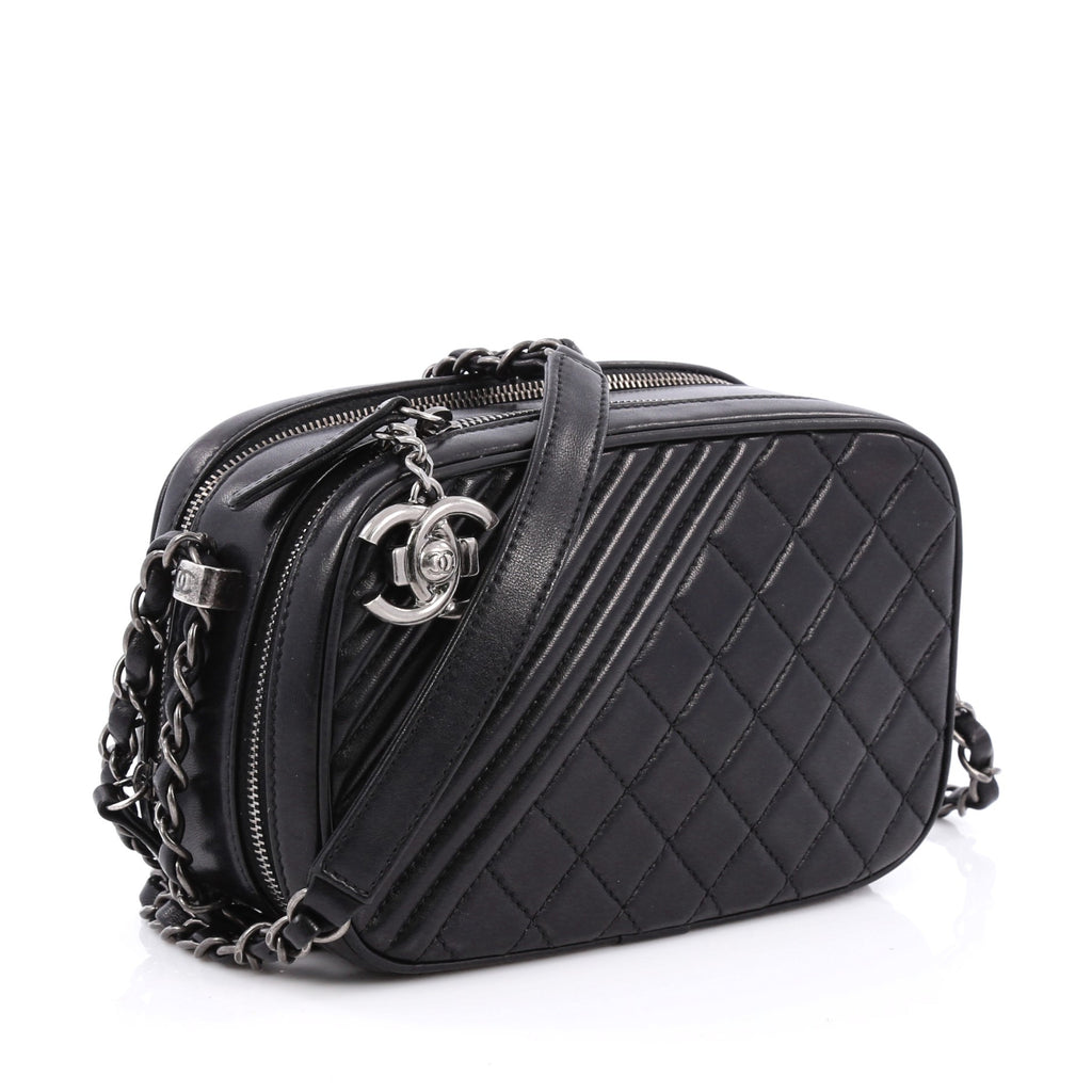 e40267df01072d Buy Chanel Coco Boy Camera Bag Quilted Leather Small Black 1743701 ...