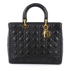 Christian Dior Lady Dior Handbag Cannage Quilt Lambskin Large black