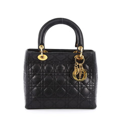 Christian Dior Lady Dior Handbag Cannage Quilt Lambskin Medium black