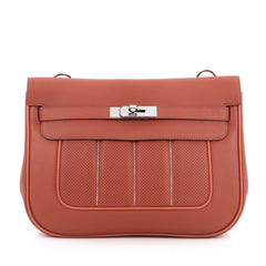 Hermes Berline Handbag Perforated Swift 28 Red