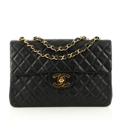 Chanel Vintage Classic Single Flap Bag Quilted Lambskin Maxi black