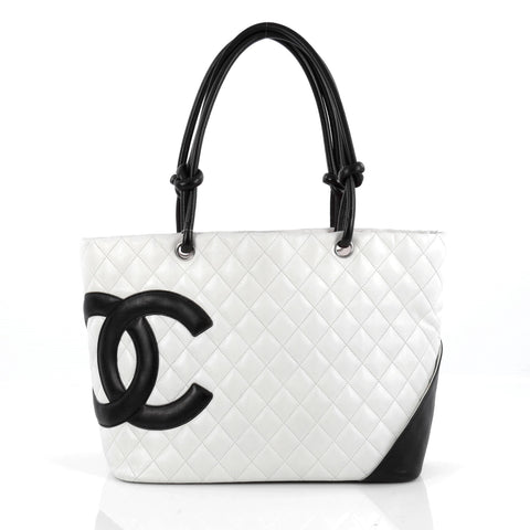 3c10ed28fbd4 Buy Chanel Cambon Tote Quilted Leather Large White 1748704 – Rebag