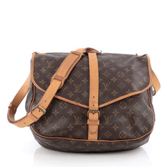 Louis Vuitton Saumur Handbag Monogram Canvas 35 brown