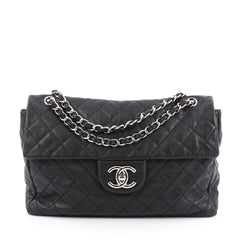Chanel Classic Soft Flap Bag Quilted Caviar Maxi Black