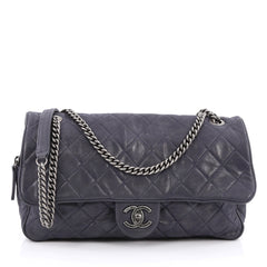 Chanel Shiva Flap Bag Quilted Iridescent Calfskin Large Blue