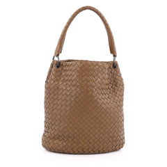 Bottega Veneta Bucket Hobo Intrecciato Nappa Small Brown