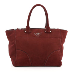 Prada Twin Pocket Tote Stitched City Suede Medium Red