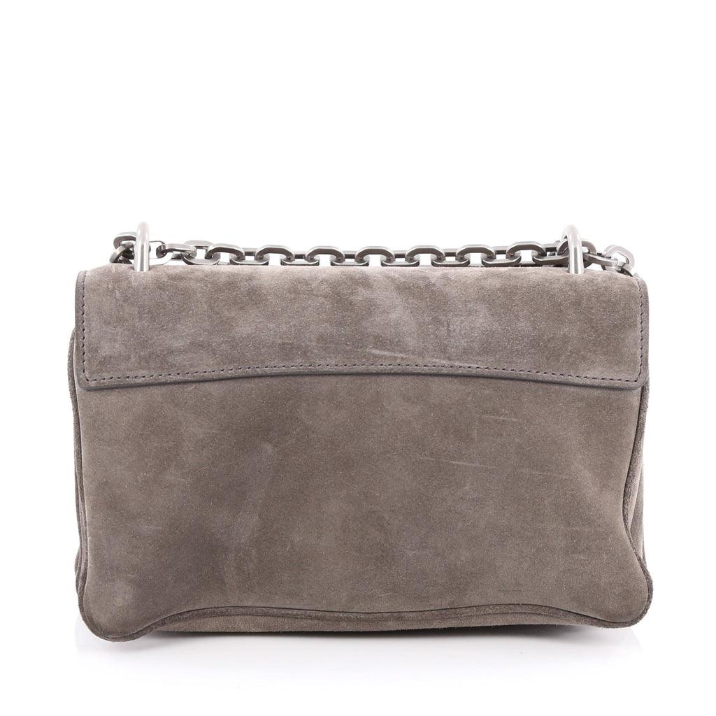 261b1e7422aa Buy Prada Chain Flap Shoulder Bag Suede Medium Gray 1753002 – Rebag