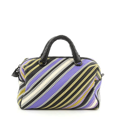 Bottega Veneta Convertible Boston Bag Striped Leather Small Black