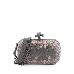 Bottega Veneta Mosaique Box Knot Clutch Ayers Small Neutral