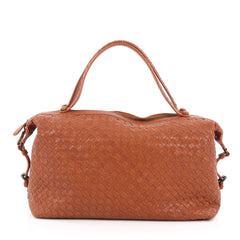 Bottega Veneta Belted Zip Top Handle Bag Intrecciato Nappa Medium Orange