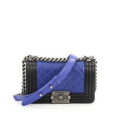 Chanel Bicolor Boy Flap Bag Quilted Calfskin Small Blue