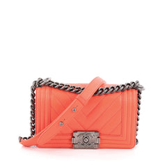 Chanel Boy Flap Bag Chevron Calfskin Small Pink