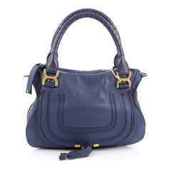 Chloe Marcie Satchel Leather Medium Blue