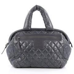 Chanel Coco Cocoon Bowling Bag Quilted Nylon Gray