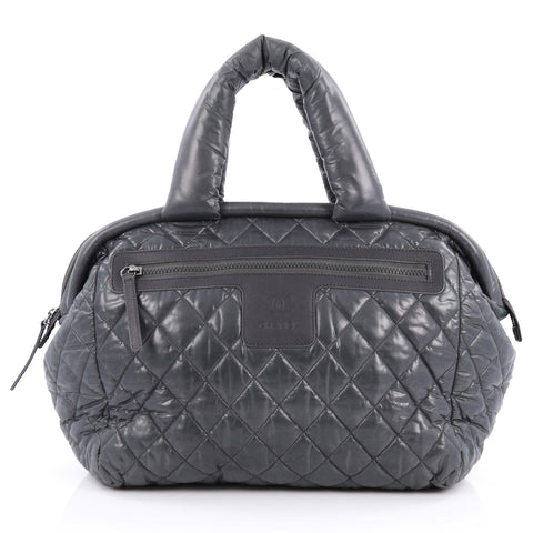 4d4f20e424 Buy Chanel Coco Cocoon Bowling Bag Quilted Nylon Gray 1760907 – Rebag