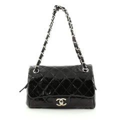 Chanel CC Chain Zip Flap Bag Quilted Patent Small Black