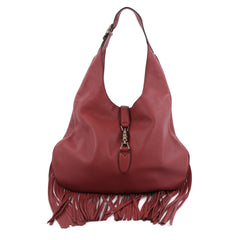 Gucci Nouveau Fringe Jackie Hobo Leather red