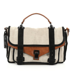 Proenza Schouler PS1 Satchel Canvas with Suede Medium brown