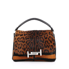 Tod's Double T Crossbody Bag Printed Pony Hair Medium Brown