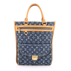 Louis Vuitton Sac Plat Handbag Denim Blue