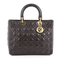 Christian Dior Lady Dior Handbag Cannage Quilt Lambskin Large Brown