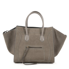 Celine Phantom Handbag Crocodile Embossed Nubuck Medium gray