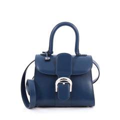 Delvaux Brillant Shoulder Bag Leather Mini blue