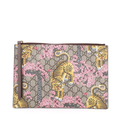 Gucci Zipped Pouch Bengal Print GG Coated Canvas Large brown