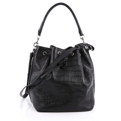 Saint Laurent Emmanuelle Bucket Bag Crocodile Embossed Leather Medium black