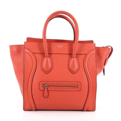 Celine Luggage Handbag Grainy Leather Mini red