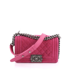Chanel Boy Flap Bag Quilted Velvet Small pink