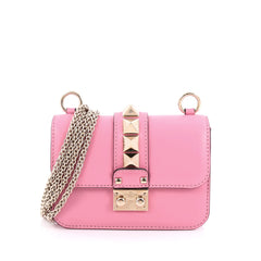Valentino Glam Lock Shoulder Bag Leather Mini pink