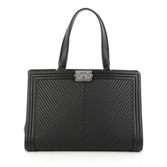 Chanel Boy Shopping Tote Chevron Quilted Calfskin Large 1765901