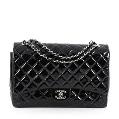 Chanel Classic Double Flap Bag Quilted Patent Maxi Black