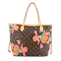 Louis Vuitton Neverfull Tote Limited Edition Monogram Canvas Roses MM brown