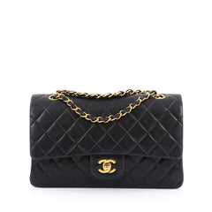 Chanel Vintage Classic Double Flap Bag Quilted Lambskin Medium Black