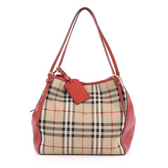 Burberry Canterbury Tote Horseferry Check Canvas and Leather Small Red