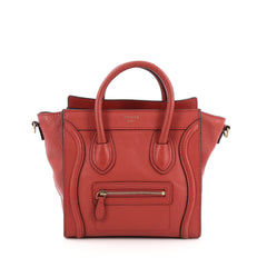 Celine Luggage Handbag Grainy Leather Nano Red