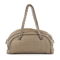 Chanel Luxe Ligne Bowler Bag Leather Medium Neutral