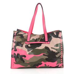 Valentino Rockstud Open Tote Camo Leather and Canvas 1771501