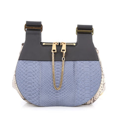 Chloe Drew Messenger Bag Python Medium Blue