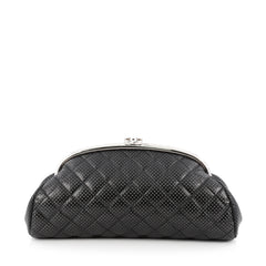 Chanel Timeless Clutch Quilted Perforated Leather Black 1776901