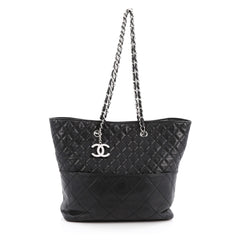 Chanel In The Business Tote Quilted Lambskin Small Black