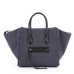 Celine Phantom Handbag Striped Canvas and Leather Medium Blue