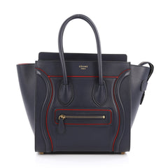 Celine Luggage Handbag Smooth Leather Micro Blue